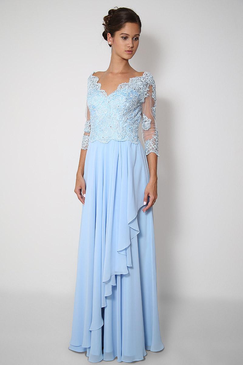 Světle modré dlouhé společenské šaty  8d2ceb1709