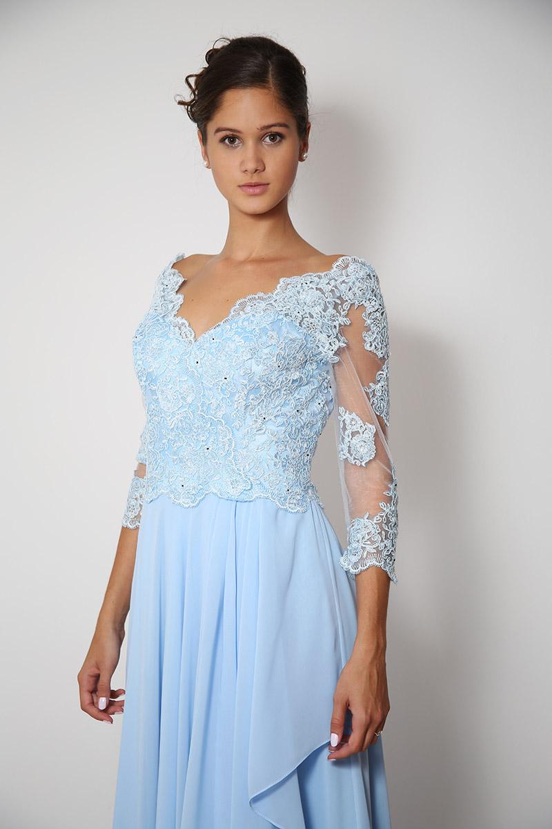 1aa6249d288d Světle modré dlouhé společenské šaty