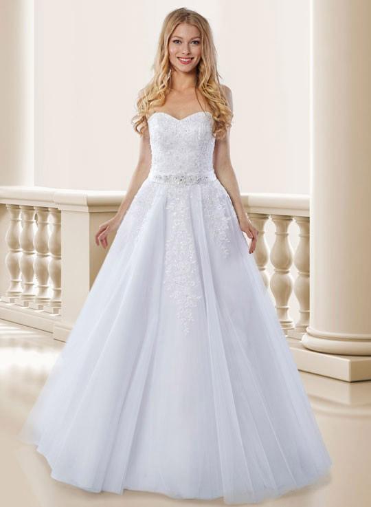 1f2be73a2c9a Korzetové bílé svatební šaty s bohatou sukní